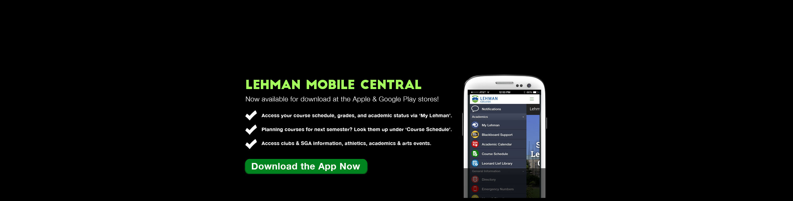 Lehman Mobile Central App Now Available for Download
