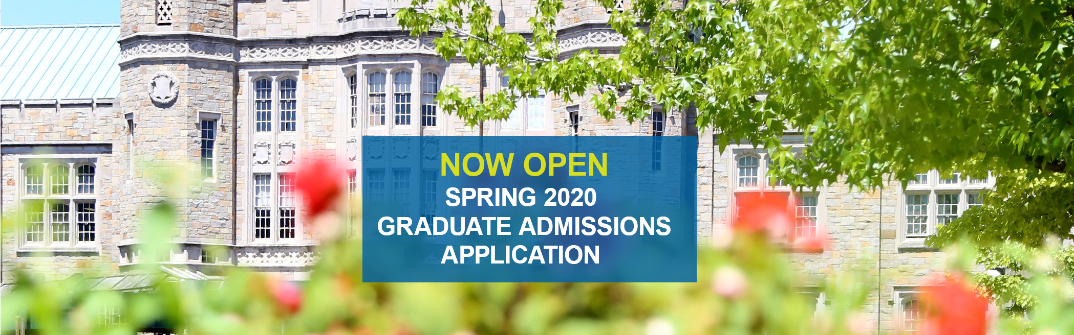 Banner for Spring 2020 Graduate Admissions