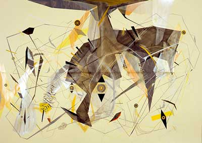 Monument to the Geo Chemistry After Structure with Yellow DISTURBANCE Code and Disaster Averter and Atomic Station, 2011-14 Gouache, ink, colored pencil, graphite, and pastel on Fabriano Murillo paper, 79 x 110 in. (200 x 280 cm)