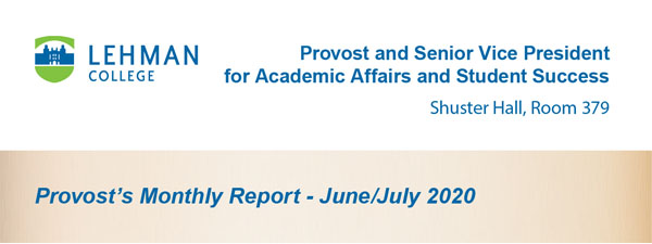 Provost's Monthy Report