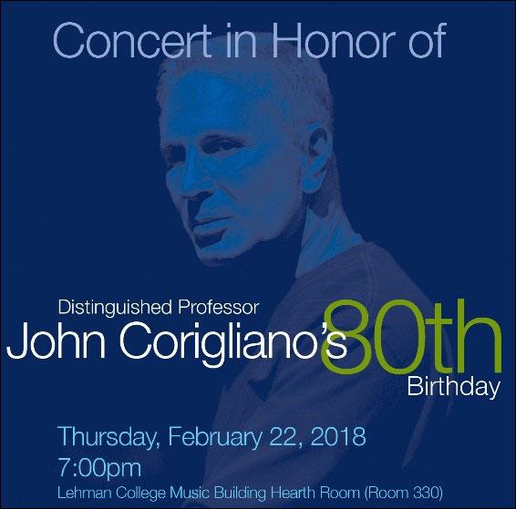 Concert in Honor of John Corigliano's 80th Birthday