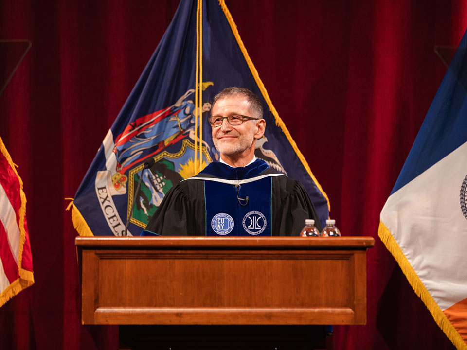 Photo of Daniel Lemons, President of Lehman College, at Convocation
