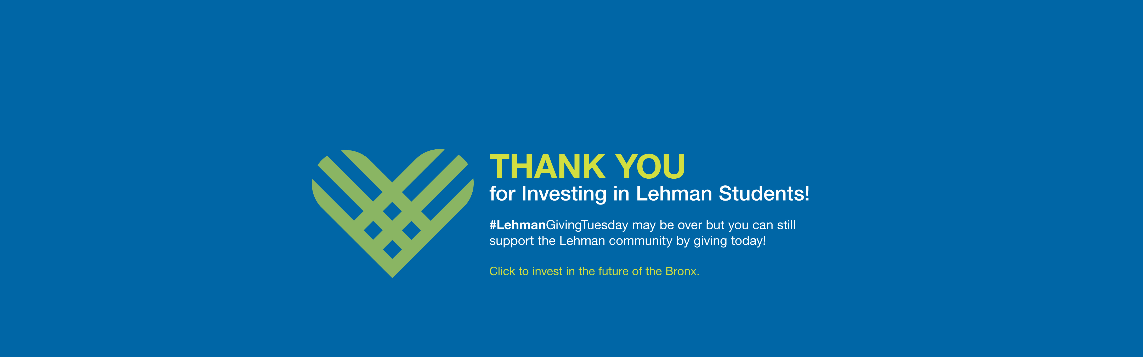 Giving Tuesday Thank You in Investing Lehman Students
