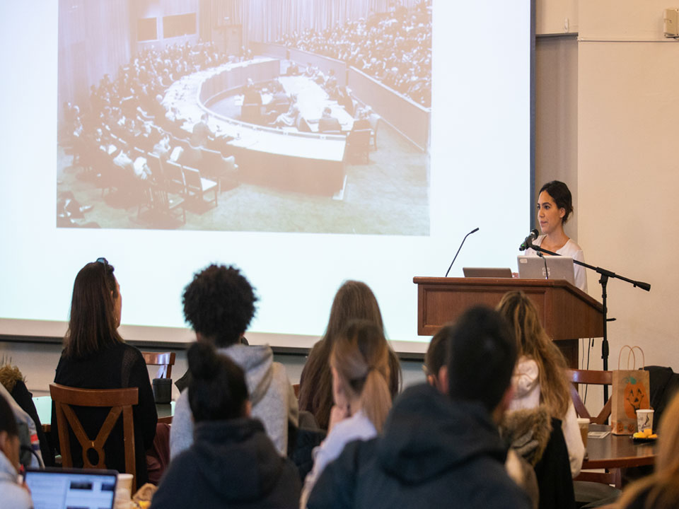 Photo of Lehman students learning about the UN Declaration of Human Rights