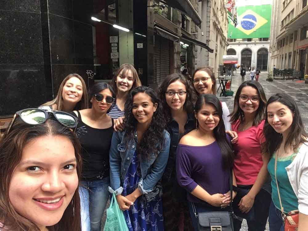 Photo of Speech Language Hearing Sciences graduate students studying in Brazil Summer 2018